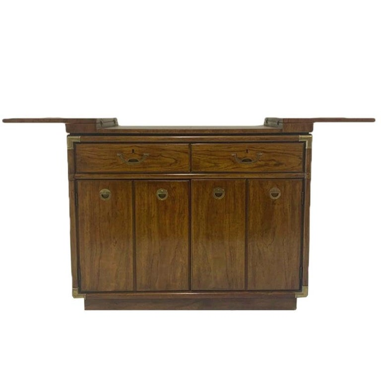 Campaign Style Dry Bar Cabinet Server W, Dry Bar Furniture