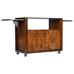 Campaign Style Brass Accent Burl Wood Server Dry Bar Cabinet