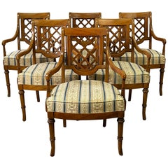 Campaign Style Dining Room Arm Chairs, Set of 6
