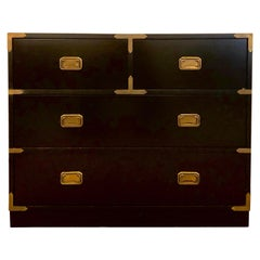 Campaign Style Ebony Chest / Dresser or Nightstand Attributed to Baker
