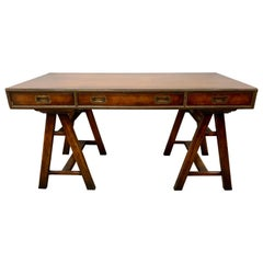 Campaign Style Fruitwood Desk Writing Table Three Drawer
