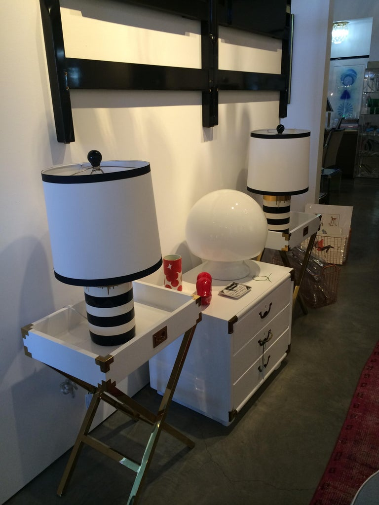 Campaign Style Lacquered White with Brass Accents Bedside Table/Chest of Drawers For Sale 3