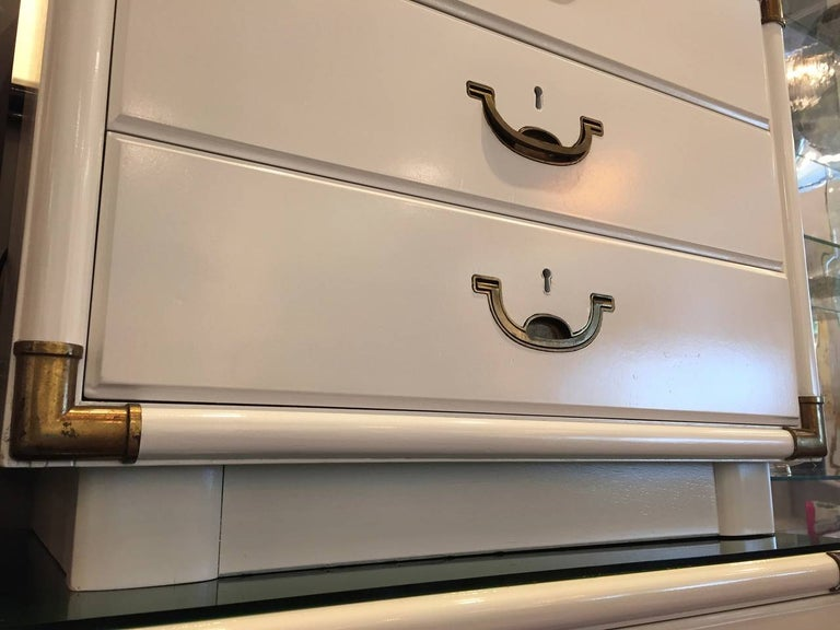 Mid-Century Modern Campaign Style Lacquered White with Brass Accents Bedside Table/Chest of Drawers For Sale