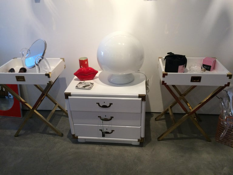 Wood Campaign Style Lacquered White with Brass Accents Bedside Table/Chest of Drawers For Sale