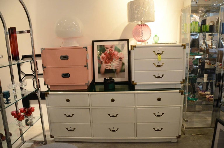 Campaign Style Lacquered White with Brass Accents Bedside Table/Chest of Drawers For Sale 1