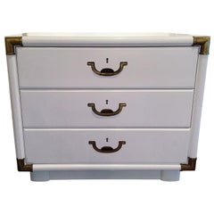 Campaign Style Lacquered White with Brass Accents Bedside Table/Chest of Drawers
