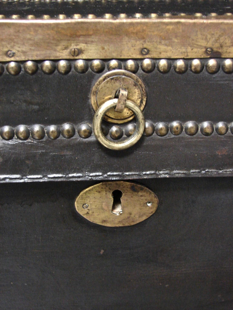 Campaign Style Leather and Brass Trunk on Custom Base For Sale 5