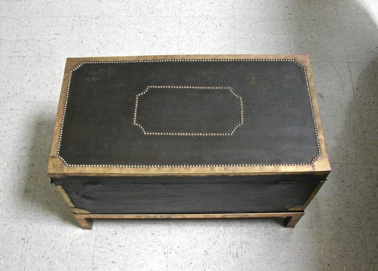 Campaign Style Leather and Brass Trunk on Custom Base For Sale 6