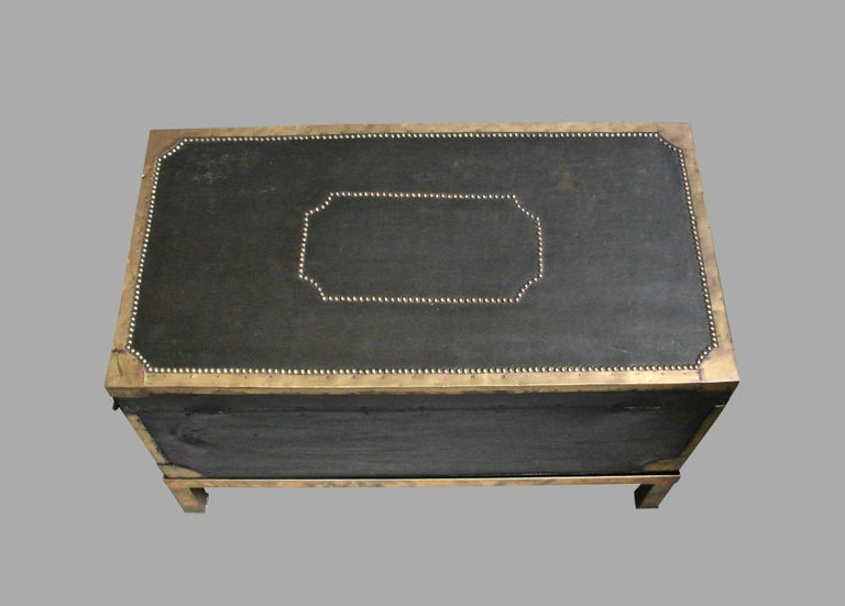 English Campaign Style Leather and Brass Trunk on Custom Base For Sale