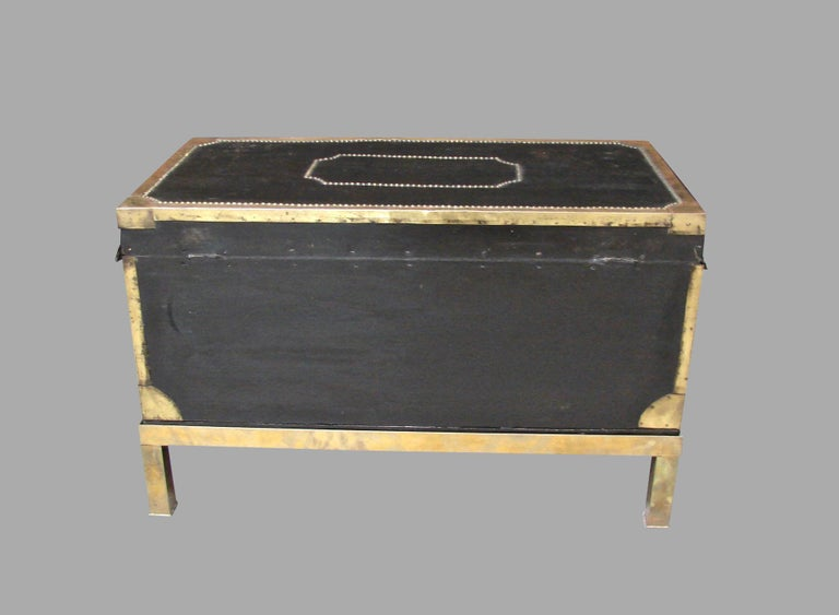Campaign Style Leather and Brass Trunk on Custom Base In Good Condition For Sale In San Francisco, CA