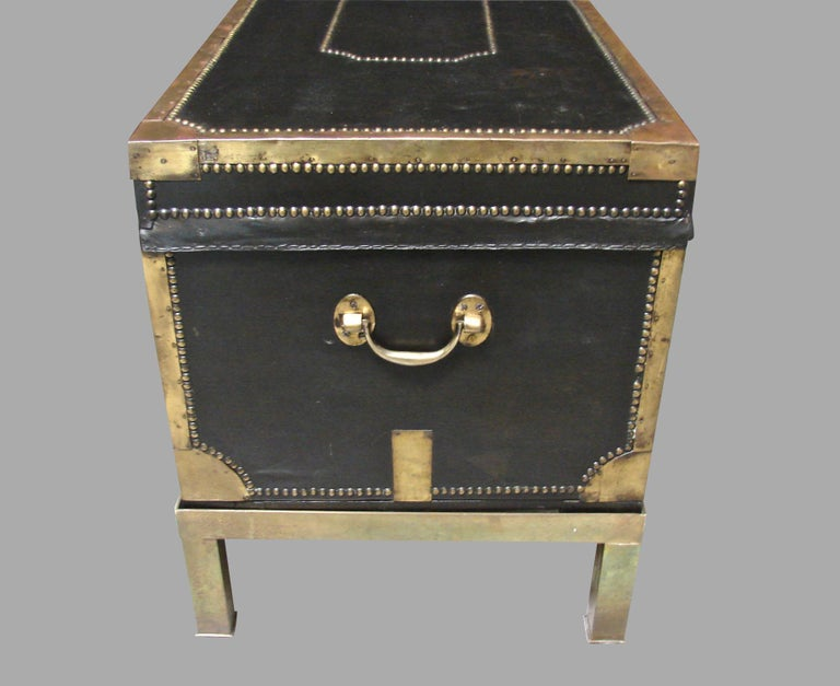 19th Century Campaign Style Leather and Brass Trunk on Custom Base For Sale
