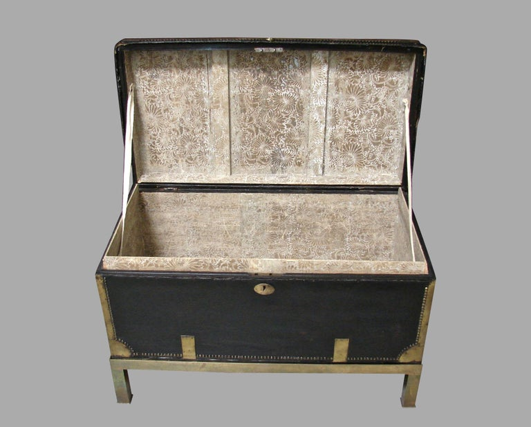 Campaign Style Leather and Brass Trunk on Custom Base For Sale 1