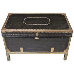 Campaign Style Leather and Brass Trunk on Custom Base