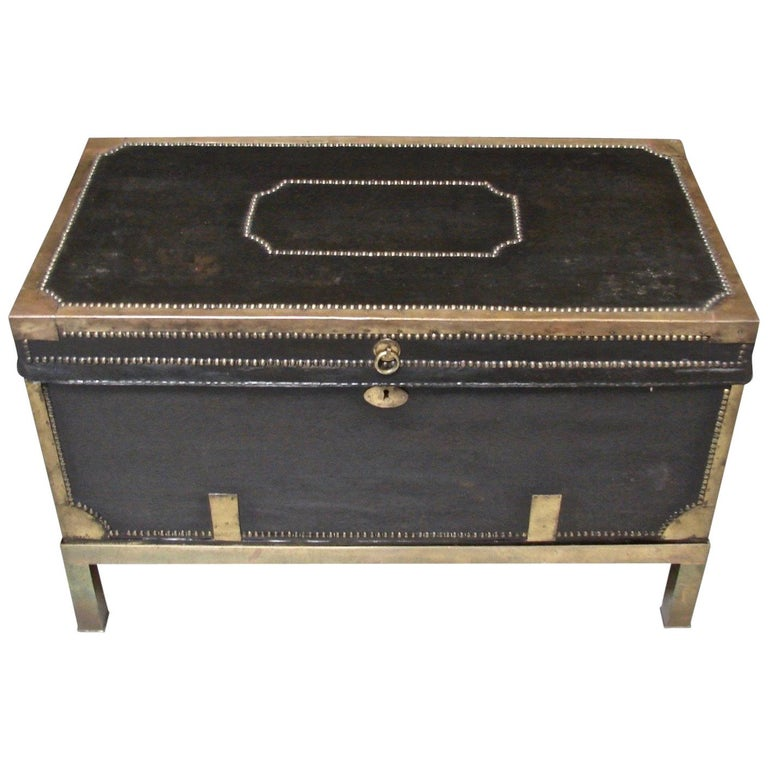 Campaign Style Leather and Brass Trunk on Custom Base For Sale