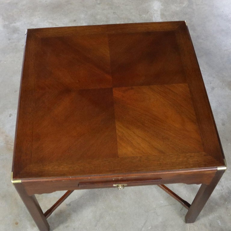 Campaign Style Square Side or End Table with Pull-Out Shelf and Brass Accents For Sale 6