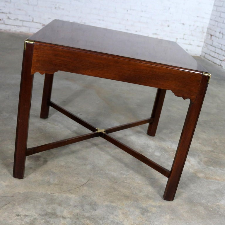 Campaign Style Square Side or End Table with Pull-Out Shelf and Brass Accents In Good Condition For Sale In Topeka, KS