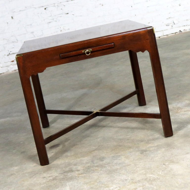 20th Century Campaign Style Square Side or End Table with Pull-Out Shelf and Brass Accents For Sale