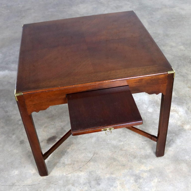 Campaign Style Square Side or End Table with Pull-Out Shelf and Brass Accents For Sale 2