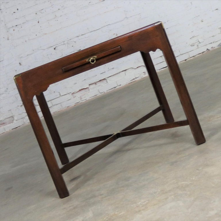 Campaign Style Square Side or End Table with Pull-Out Shelf and Brass Accents For Sale 3