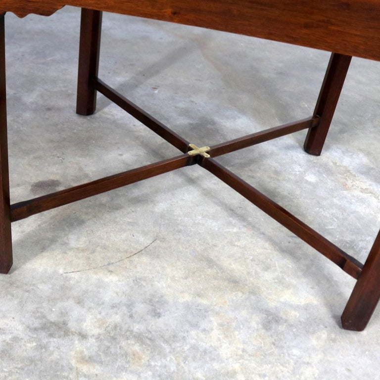 Campaign Style Square Side or End Table with Pull-Out Shelf and Brass Accents For Sale 5