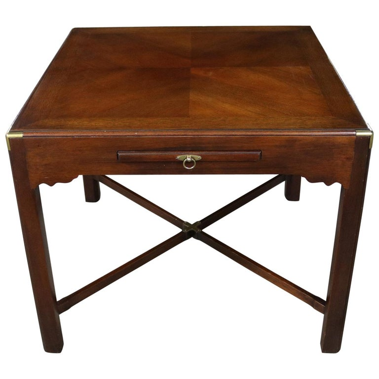 Campaign Style Square Side or End Table with Pull-Out Shelf and Brass Accents For Sale