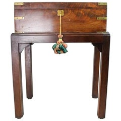 Campaign Wood Travelling Lap Desk on a Later Stand, 19th Century