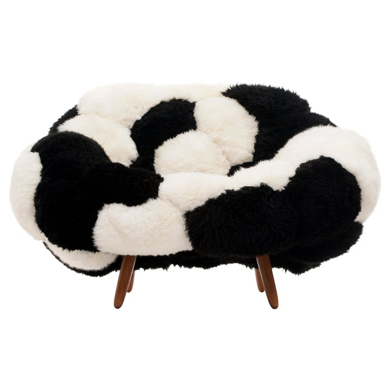 """Campana Brothers, """"Bolotas Armchair 'Bicolor'"""", Black and White, Wool, 2018"""