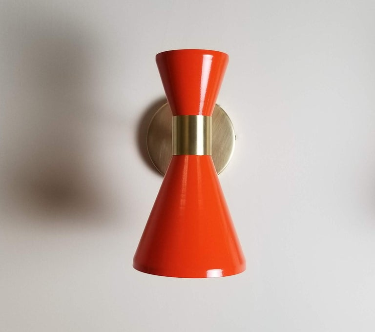 Modern Campana Wall Sconce in Brass and Orange Enamel by Blueprint Lighting For Sale