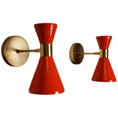Campana Wall Sconce in Brass and Orange Enamel by Blueprint Lighting