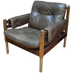 Campanha Club, Tufted Leather Brass Legs and Wooden Frame Campaign Style Chair
