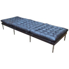 Campanha Day Bed, Tufted Leather, Wenge and Brass Legs