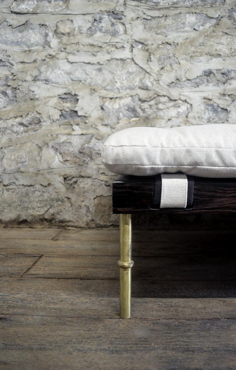Mid-Century Modern Campanha Day Bed with Tufted Linen Brass Legs Wooden Campaign Style Chaise White For Sale