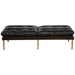 Campanha Ottoman with Tufted Leather, Oiled Wenge and Satin Brass Legs