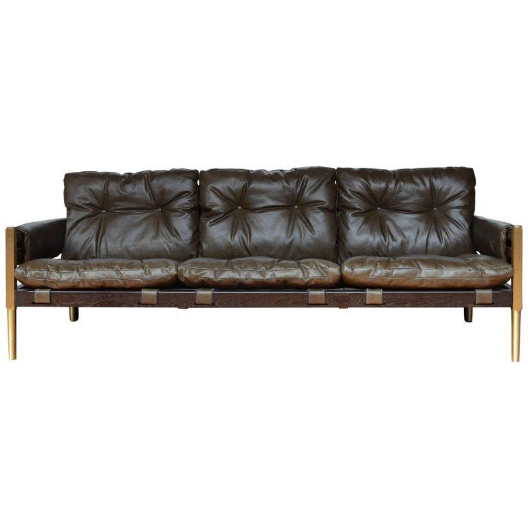 Campanha Sofa, Tufted Leather Brass Legs And Wooden Frame Campaign Style  Couch