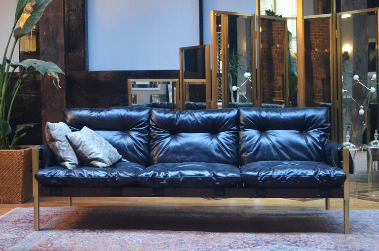 Campanha Sofa with Tufted Leather Brass Legs & Wooden Frame Campaign Style  Couch