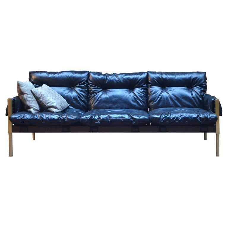 Campanha Sofa with Tufted Leather Brass Legs and Wooden Frame ...
