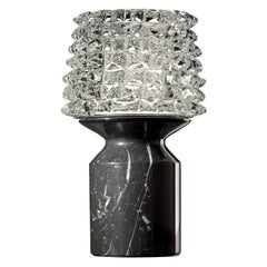 Camparino 7359 Table Lamp in Glass with Black Marble Finish, by Barovier&Toso