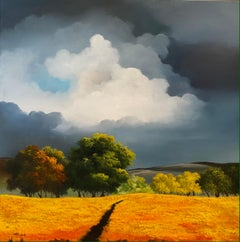 'Blue Horizon' Contemporary Yellow Landscape painting of fields, trees and sky
