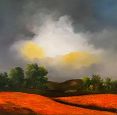 'Guiding Light' Contemporary Bold Red Landscape of fields, trees and moody sky