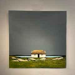 'Lands End' Contemporary Landscape painting of a cottage, fields, grey sky