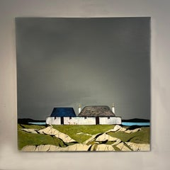 'Out on the Shore' Landscape contemporary painting of cottages, fields & rocks