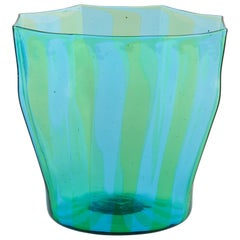 Campbell-Rey Octagonal Striped Tumbler in Green and Turquoise Murano Glass