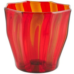 Campbell-Rey Octagonal Striped Tumbler in Red and Amber Murano Glass