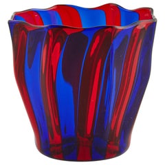 Campbell-Rey Octagonal Striped Tumbler in Red and Blue Murano Glass