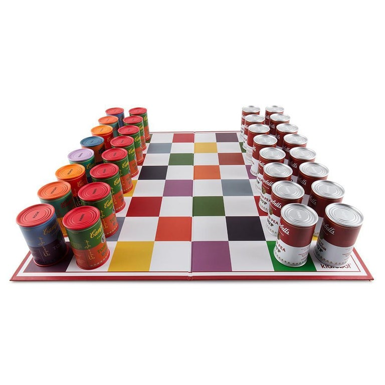 Chess board, 32 playing pieces, custom box vinyl playing pieces, each 3