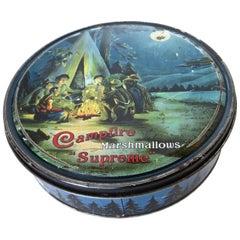 """""""Campfire Supreme"""" Marshmallow Tin, Boy Scout Motif, American, Circa 1915"""