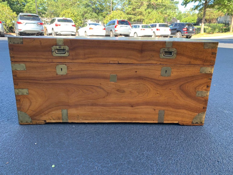 Camphor Wood and Brass Campaign Trunk, circa 1820s For Sale 8