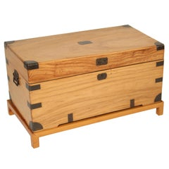 Camphor Wood Campaign Style Trunk on Stand