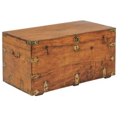 Camphor Wood Trunk Made for the English Market with Brass Hardware, circa 1880