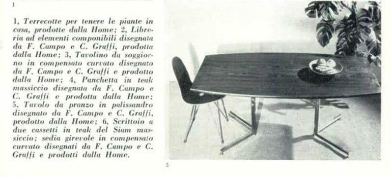 Exquisite and super rare  1958 dining set by Franco Campo and Carlo Graffi for their own Atelier  'Home' based in Turin Italy comprising a set of six sculptural form teak  plywood dining chairs complete  with the original and matching mahogany